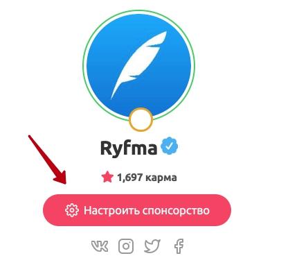 Кнопка настройки спонсорской подписки