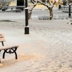 Тепло, но снег пушисто стелет землю одеялом