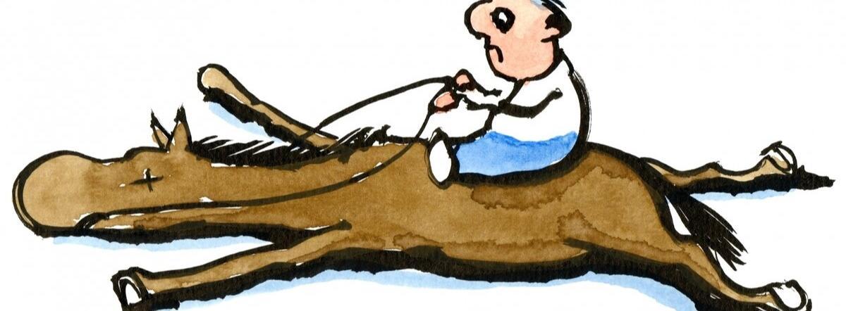 А лошадь сдохла